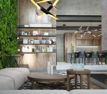 This next home makes a dramatic impact right from the beginning, with a verdant vertical garden and lovely wood panels behind integrated storage solutions. Natural materials and concrete walls create a thematic contrast that engages the eye right from the beginning. If you're looking for design inspiration for a small yet luxuriously appointed apartment, it's hard to find an interior more on-point than this one.