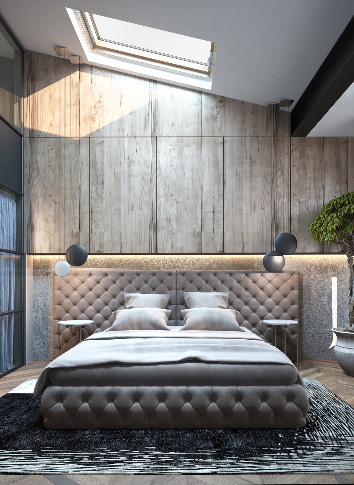 Luxurious Tufted Bed Inspiration - Homes with inspiring wall treatments and designer lighting