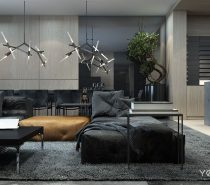 This dark and masculine color pallet takes advantage of all the natural light that flows into the space. Hearty textures and deep colors play well with that bright light.