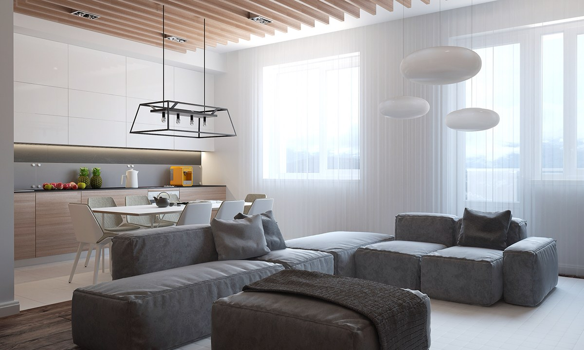 Minimalist Grey Sectional Sofa - Homes with inspiring wall treatments and designer lighting