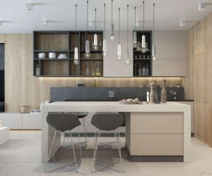 White and concrete-effect pendant lights use their playful color variation to tie the kitchen's greyscale theme together.