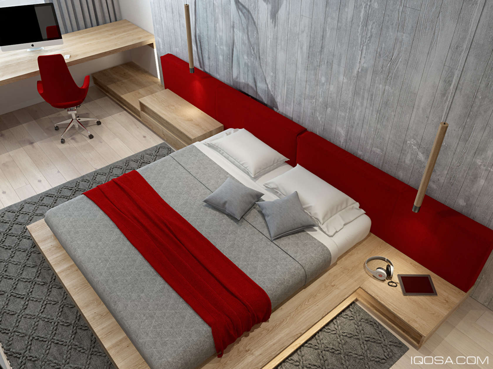 Red And Wood Bedroom - An approachable take on luxury apartment design