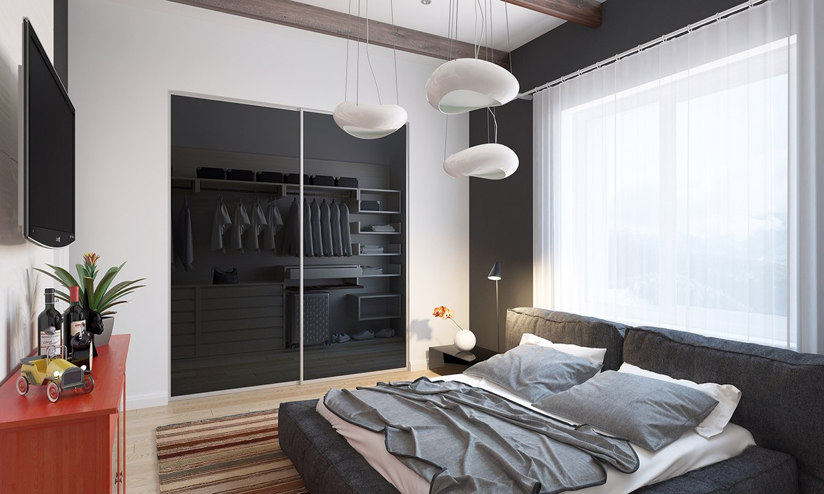 Sculptural Bedroom Lighting - Homes with inspiring wall treatments and designer lighting
