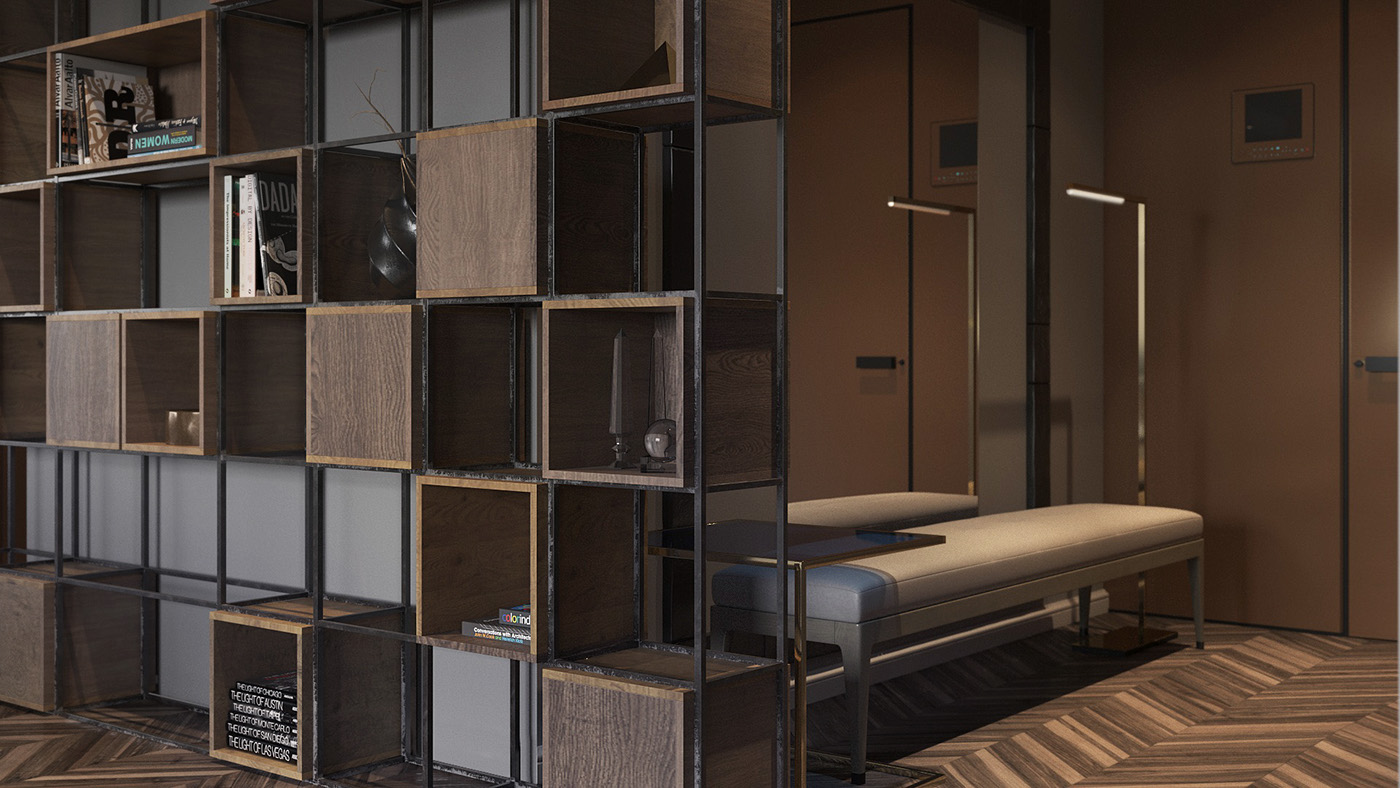 Shelving As A Partition Wall - Homes with inspiring wall treatments and designer lighting
