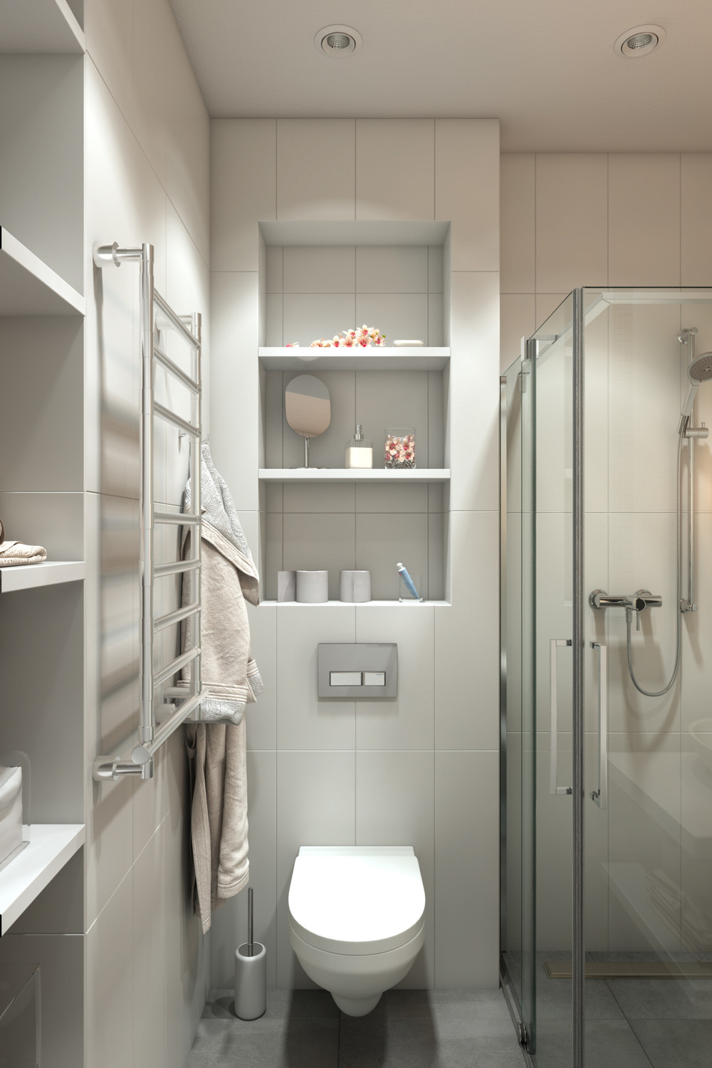 Shower Stall With Corner Doors - 4 small apartments showcase the flexibility of compact design