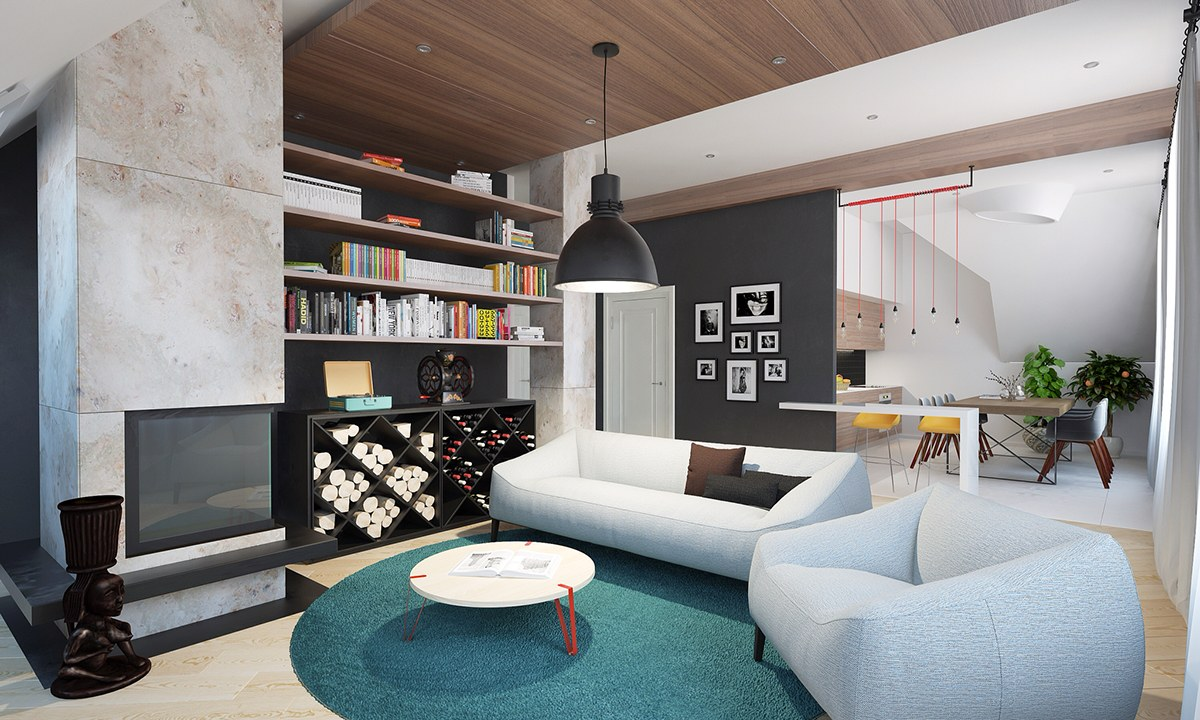 Teal And Red Interior Accents - Homes with inspiring wall treatments and designer lighting