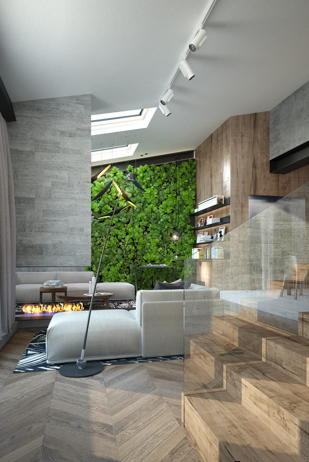Vertical Garden Indoors - Homes with inspiring wall treatments and designer lighting