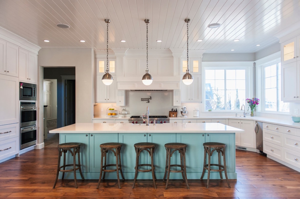 50 unique kitchen pendant lights you can buy right now - Light blue and white kitchen ...