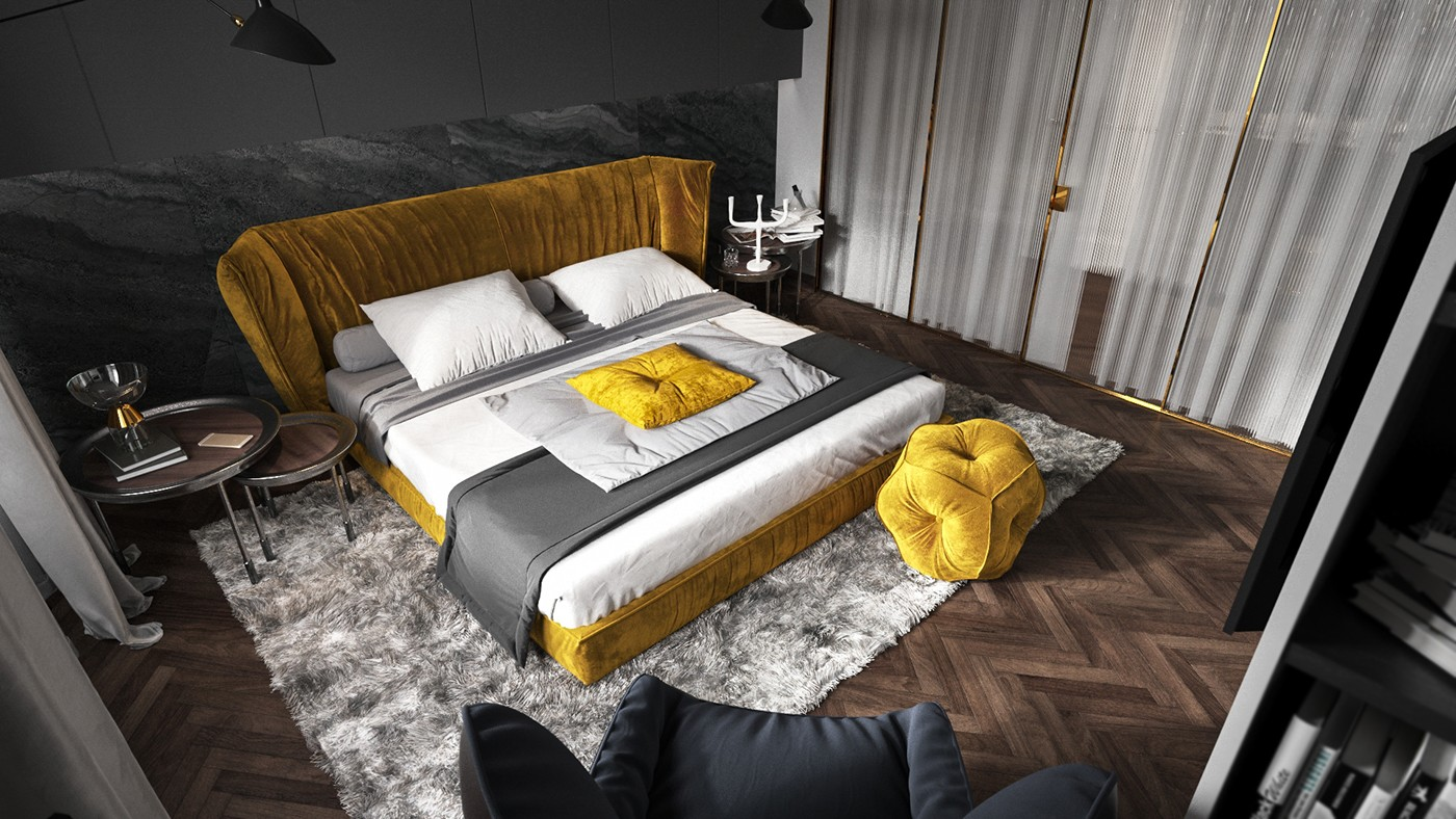 Yellow And Grey Bedroom Design - Homes with inspiring wall treatments and designer lighting