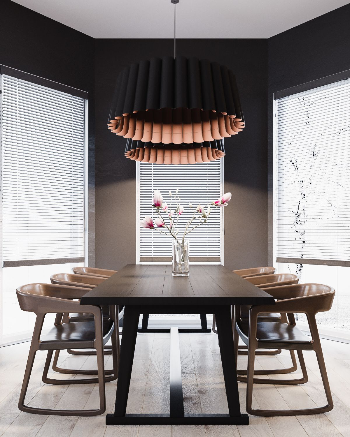 modern home Modern home in Ukraine with minimalist B&W designs beautiful dark dining room decor