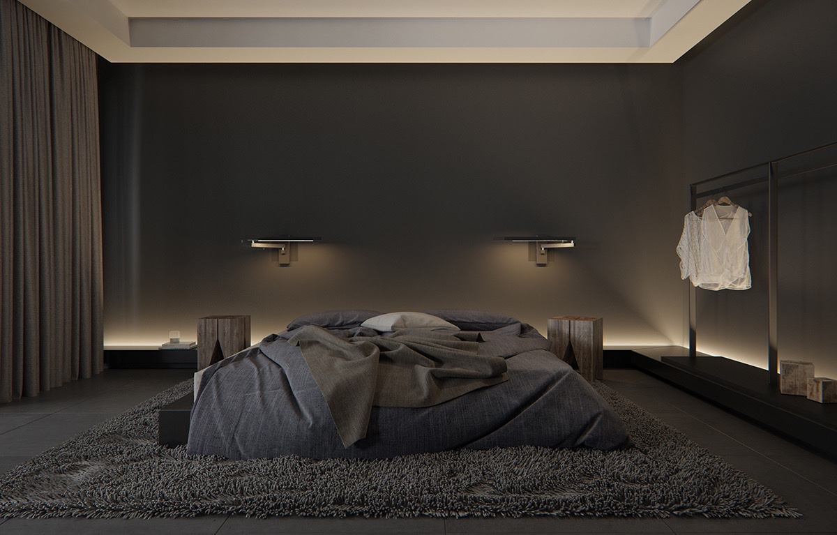 Luxury styles 6 dark and daring interiors for Black bed bedroom ideas