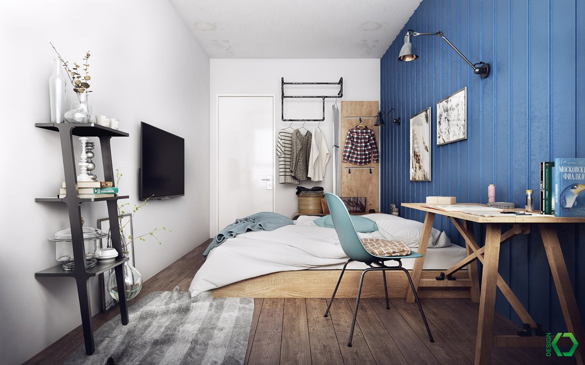 Bedroom With Eclectic Shades Of Blue - A charming eclectic home inspired by nordic design