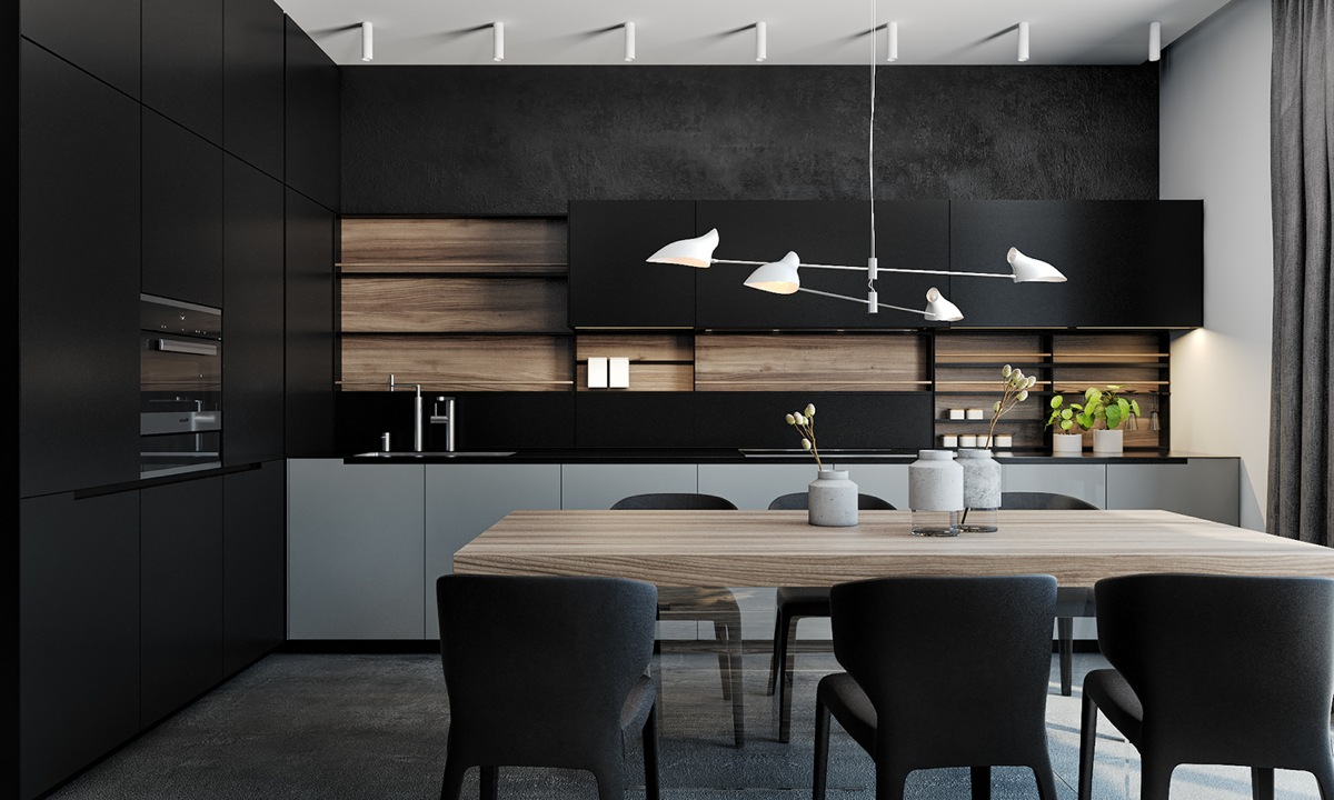 Fine Black Luxury Kitchen Marble Island Adds A Touch Of And Design