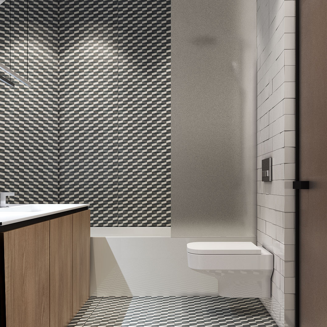 Lastest Black And White Geometric Pattern Shower Tiles Photo Via Maria LLad
