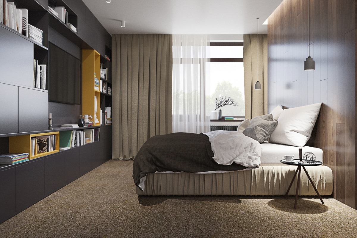 Luxury styles 6 dark and daring interiors for Brown and yellow bedroom ideas