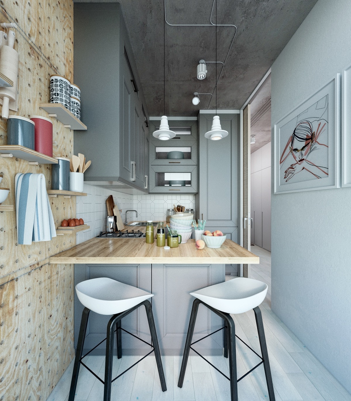Two takes on the same super small apartment for Interior design for small kitchen