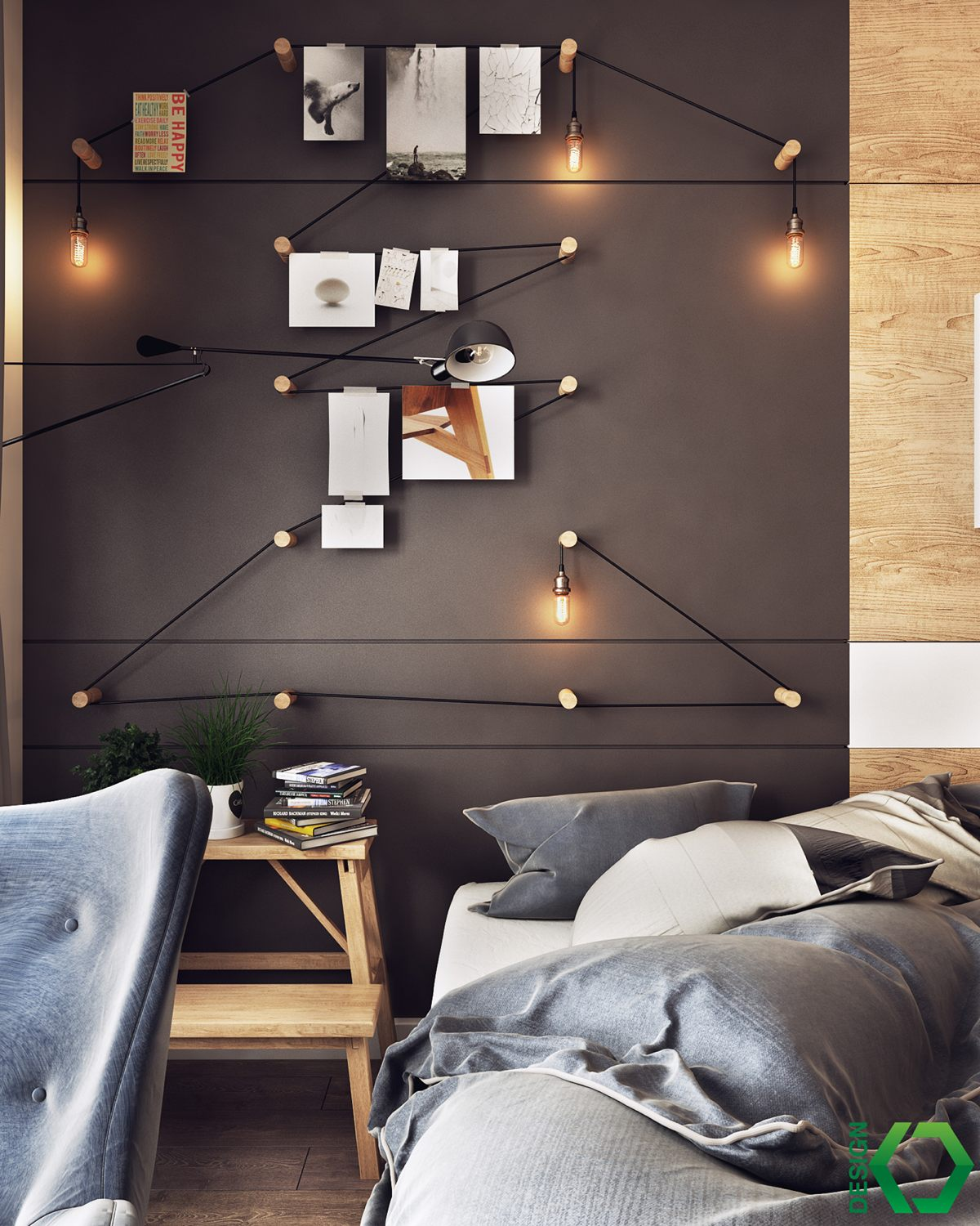 Creative Bedroom Lighting Idea - A charming eclectic home inspired by nordic design