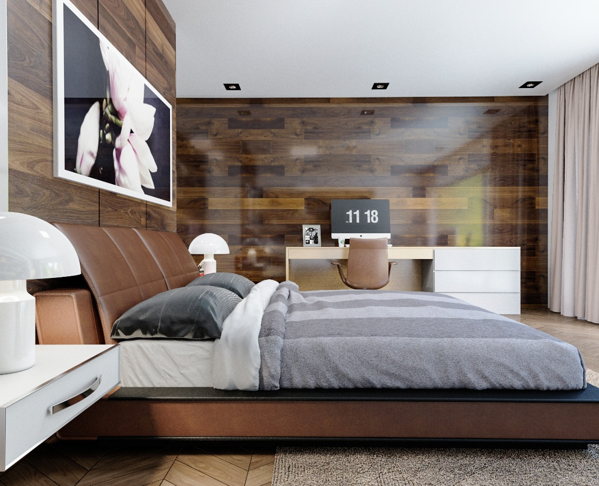 11 ways to make a statement with wood walls in the bedroom for Wooden bed interior design