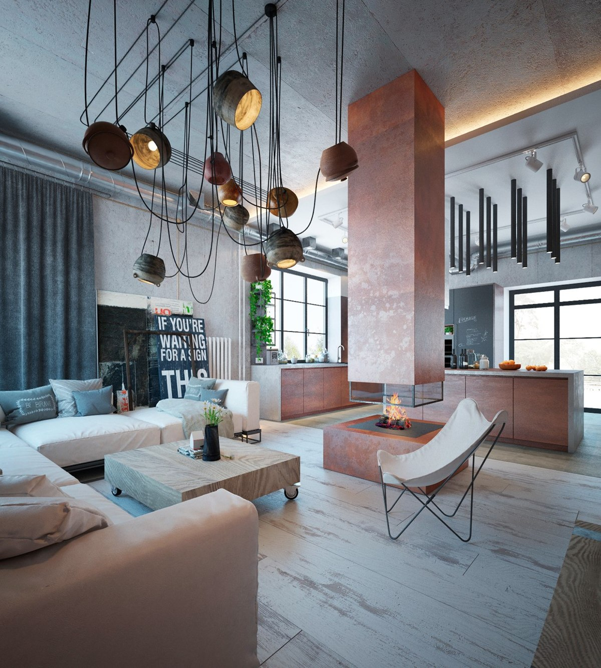 An industrial home with warm hues for Industrial interior designs