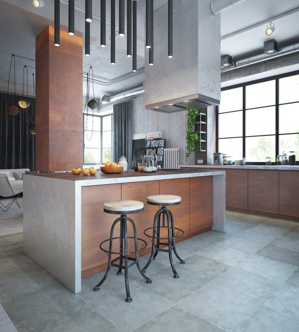 While many industrial inspired interiors stick to greyscale themes this one embraces warm tones with a rich and layered oxidized finish