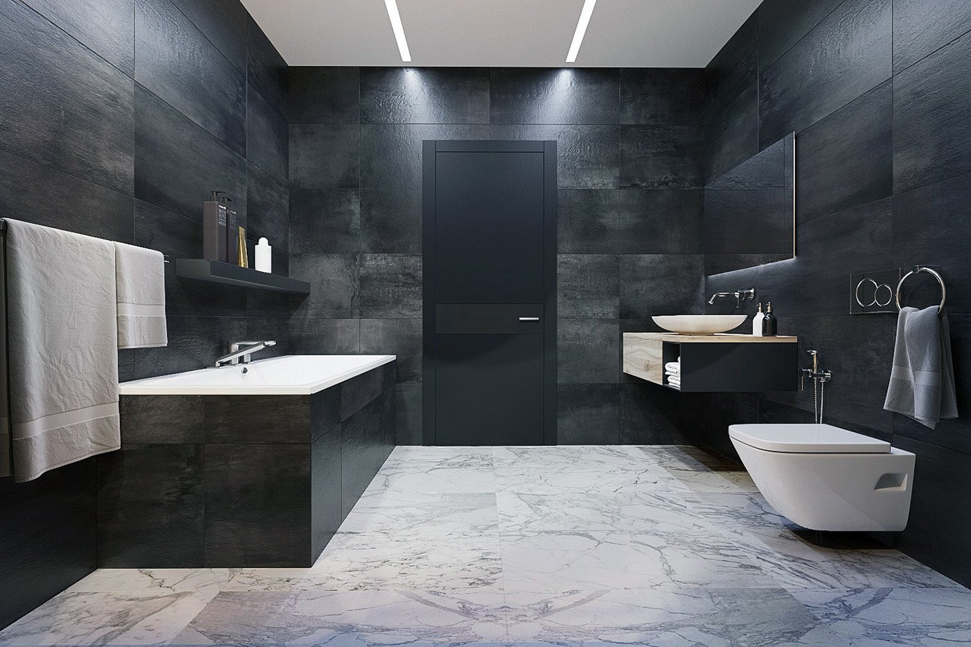 Luxury styles 6 dark and daring interiors for Dark bathrooms design
