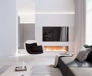 Polka dots, a lovely glass-encased fireplace, and clever lighting features provide decoration within an otherwise minimalistic environment.
