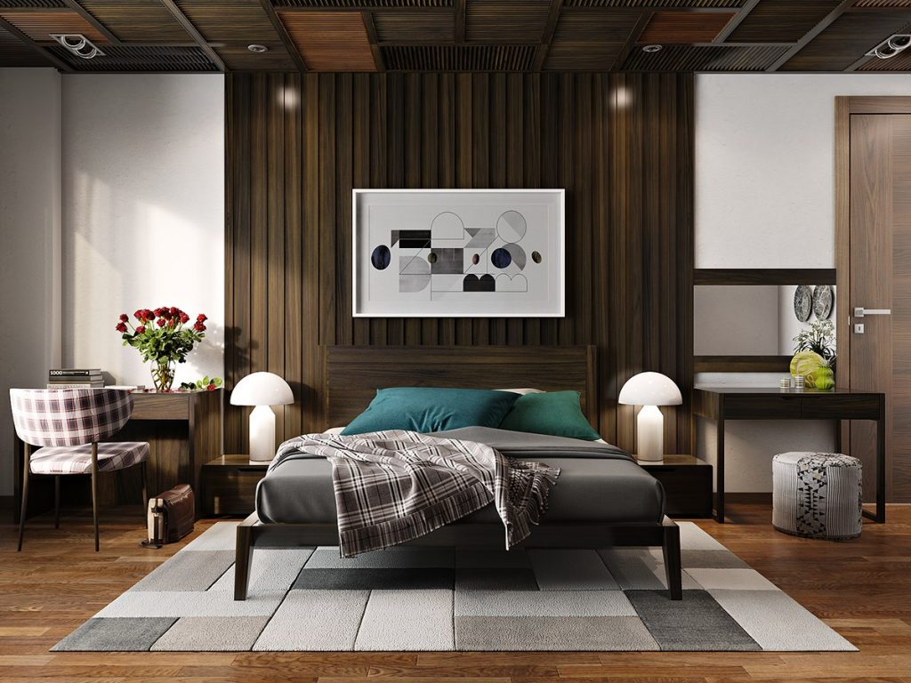 11 ways to make a statement with wood walls in the bedroom for Interior decoration accessories