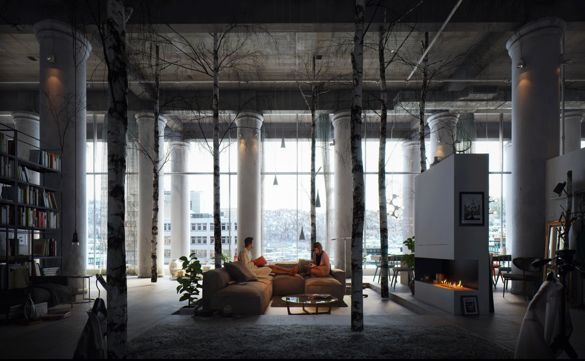 Modern Loft With Birtch Trees - 40 incredible lofts that push boundaries