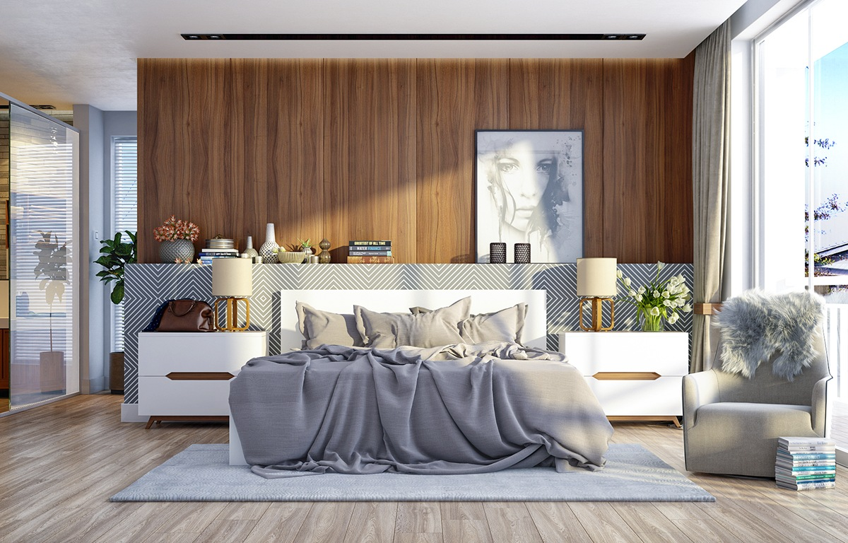 11 ways to make a statement with wood walls in the bedroom for Modern wooden bedroom designs