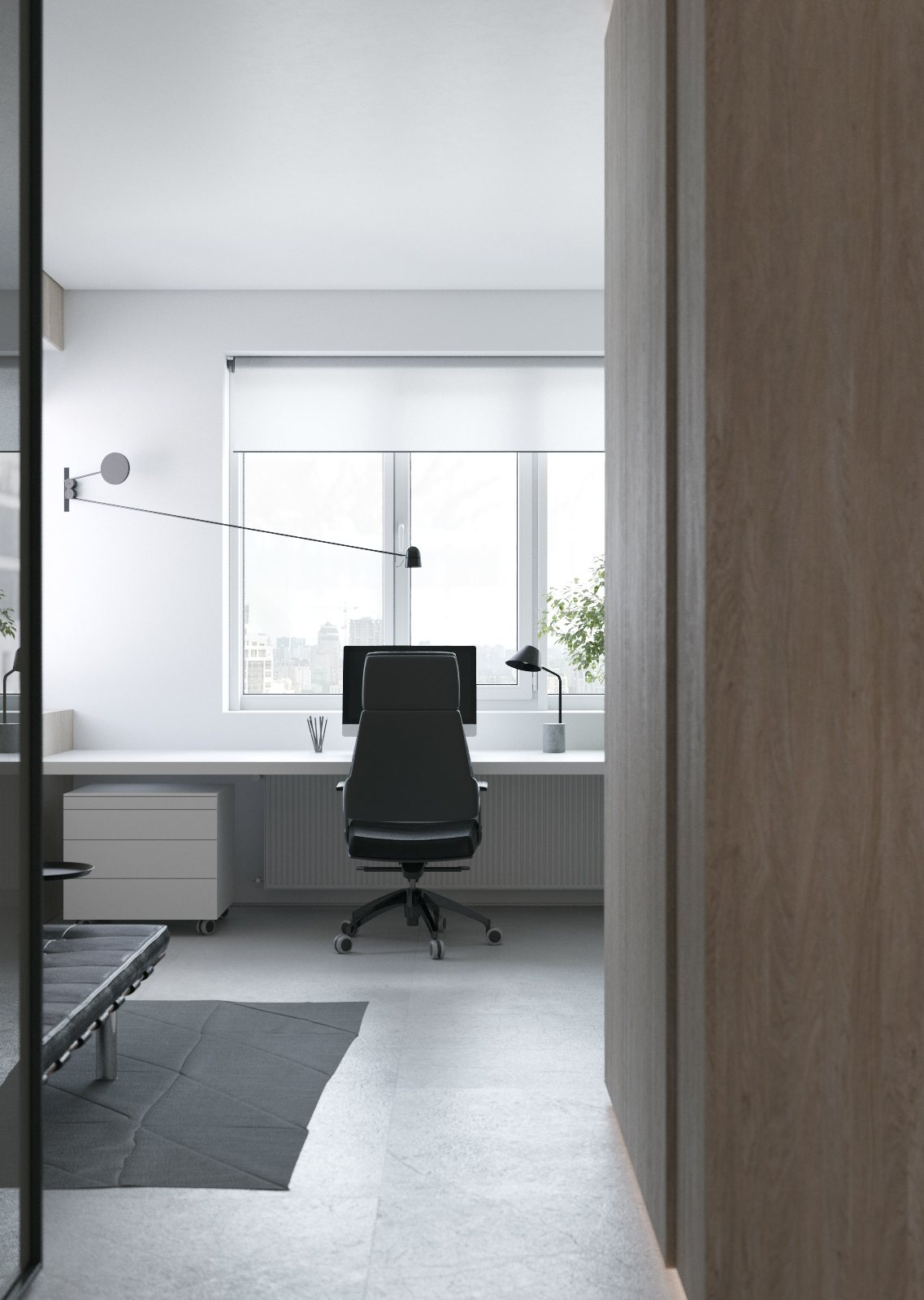 3 light interiors with creative pops of color for Simple office layout