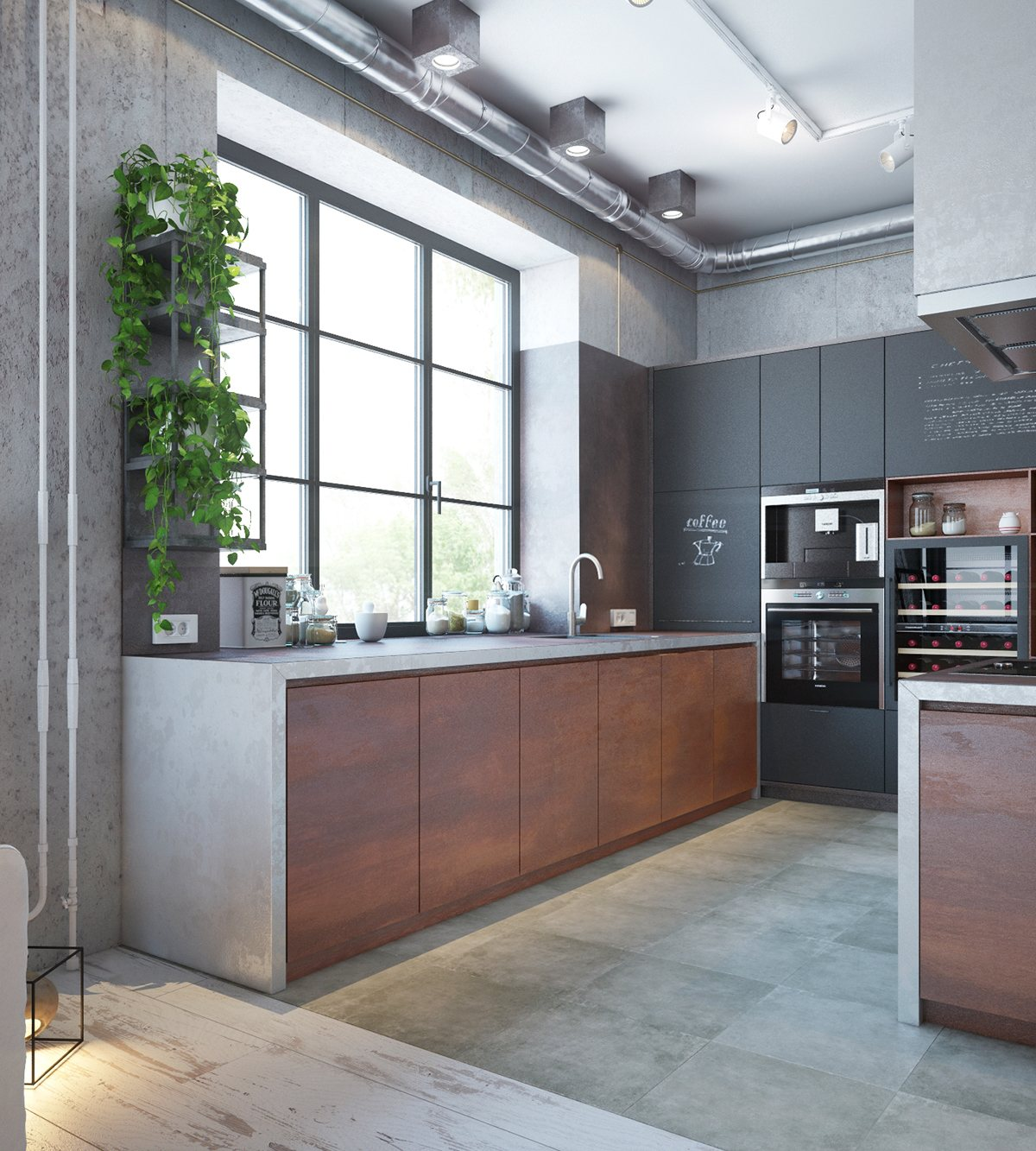 An industrial home with warm hues for Industrial modern kitchen designs