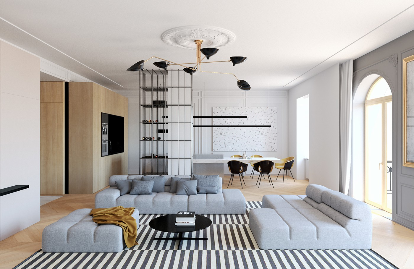 Modern decor meets classical features in two transitional - Contemporary home interior design ...