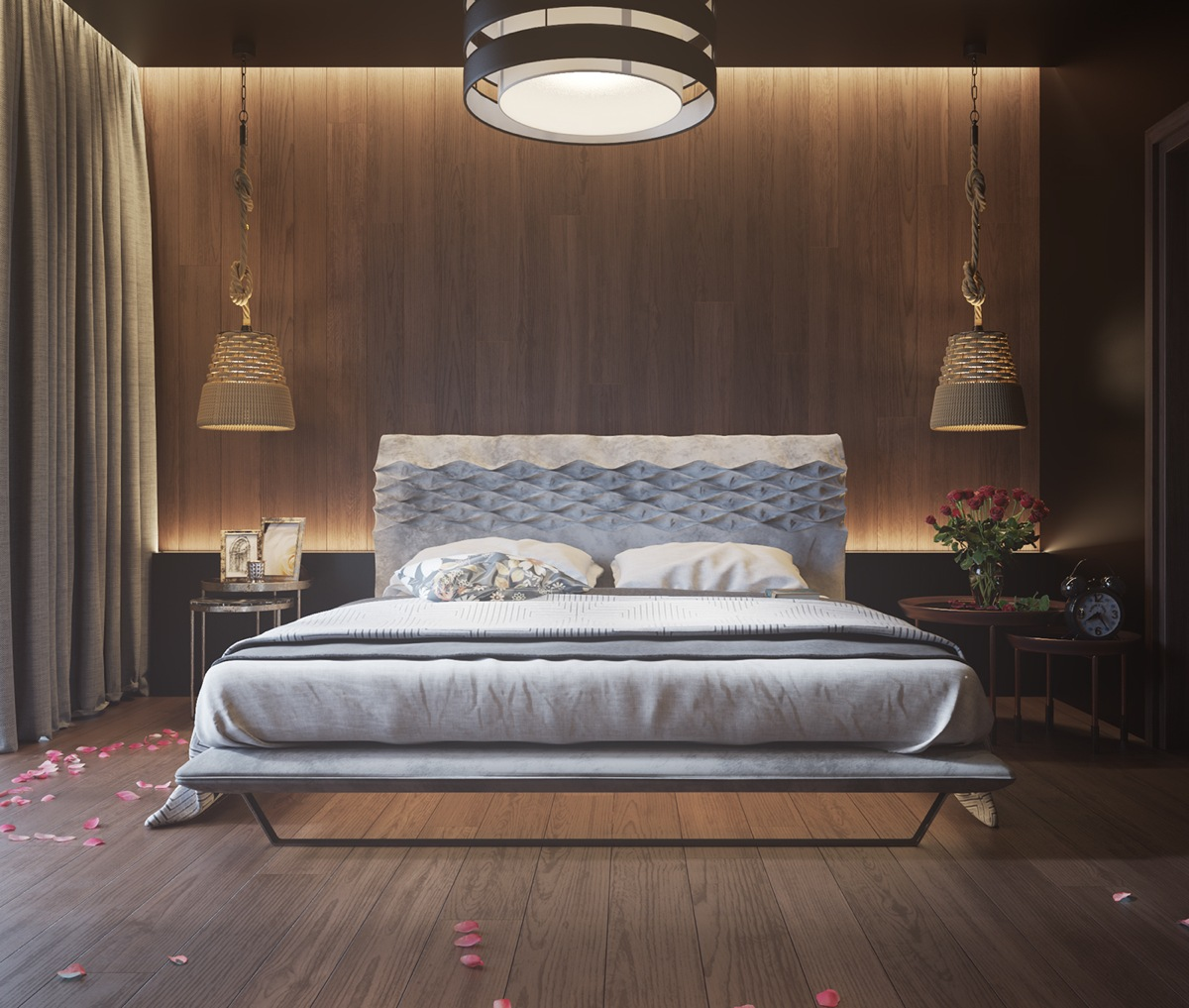 11 ways to make a statement with wood walls in the bedroom for Chambre adulte design