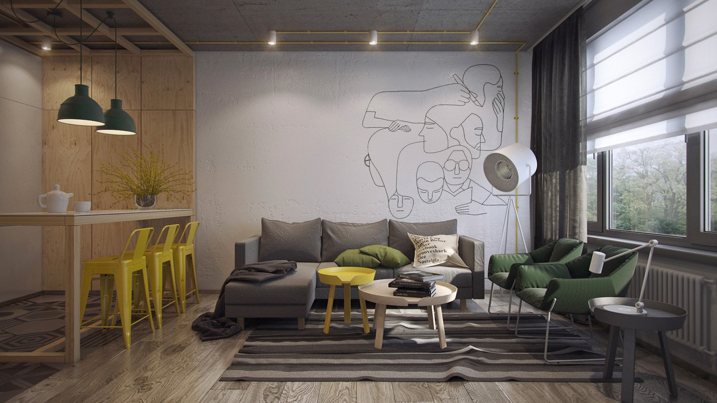 A hotel can have the same cosy feel, with a slightly-less personal touch. This concept for Coordinat student hotel in Turkey uses sunflower-shade colour-blocking with a similar shade of flowers to add flair to a background of white walls and light wood.