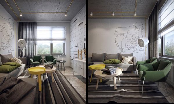 Links between the main reception area and bedrooms are defined by surrealist sketches, which hark back to the lives of the students residing within its walls. Patterned carpets incorporating more muted hues of forest and charcoal support the transitions and offer a contrast to black and sunflower-hued highlights.