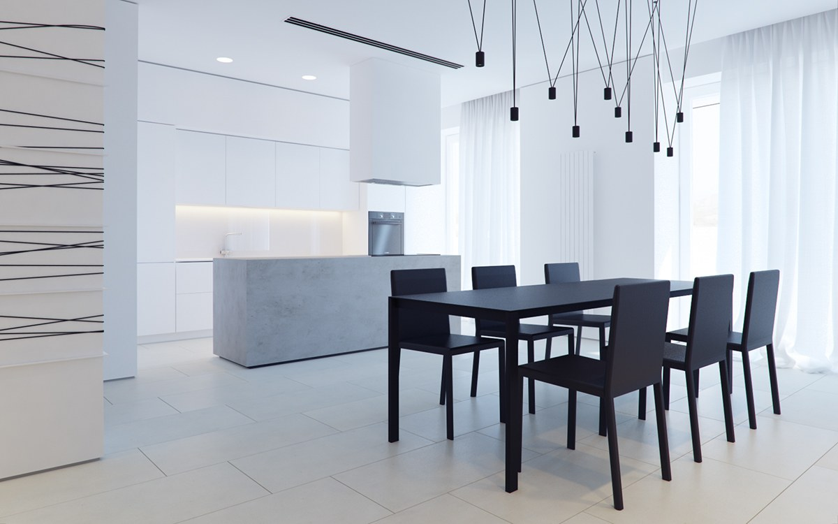 All White Kitchen Black Table And Chairs - 3 white themed homes with striking modern minimalist aesthetics