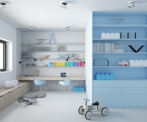More storage! Can you believe it? When designing a kids room think about all the years of stuff that's going to accumulate and try and find smart solutions to help fit it all.