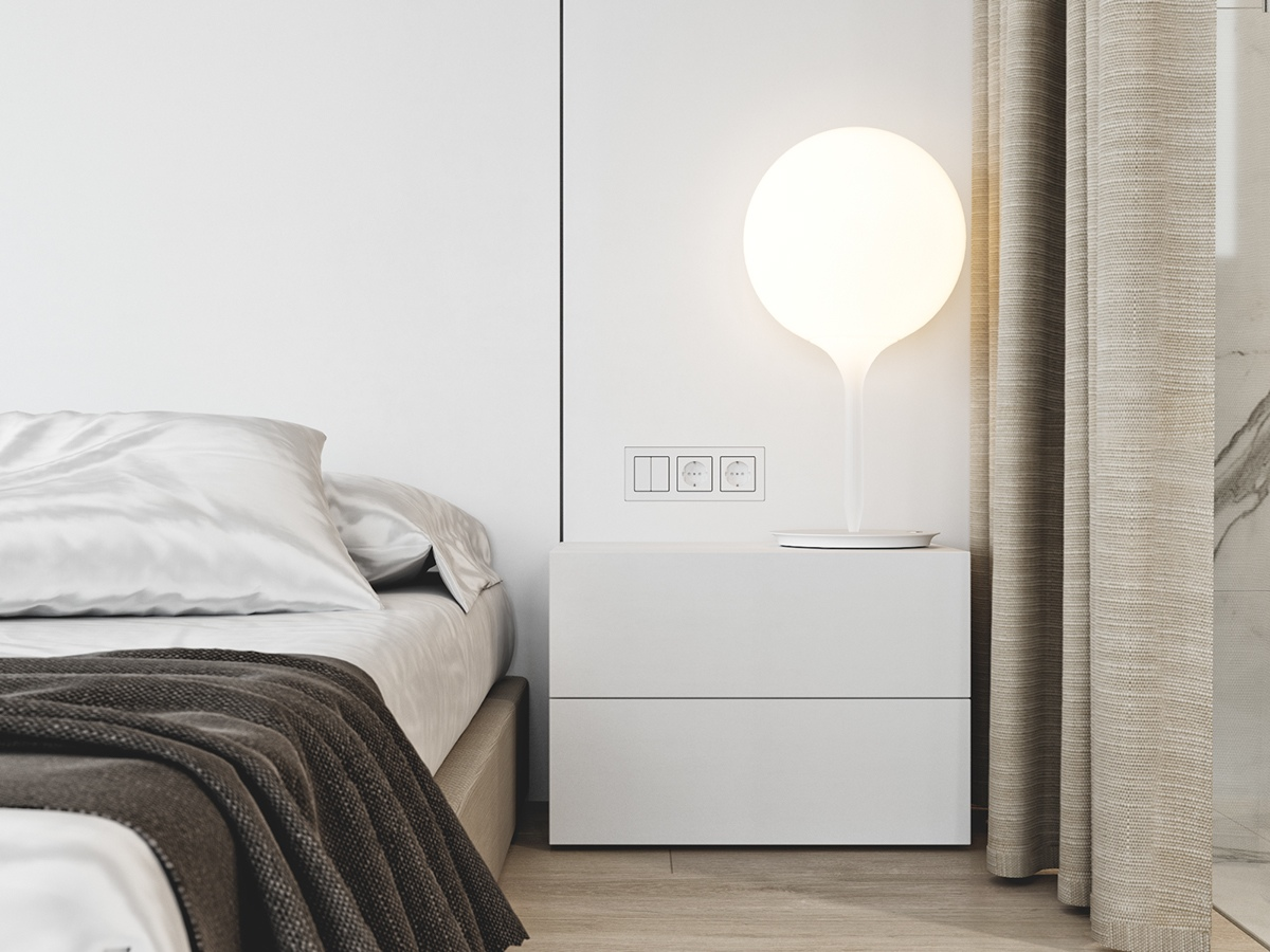 Balloon Lamp Platform Bed White End Table - 3 white themed homes with striking modern minimalist aesthetics