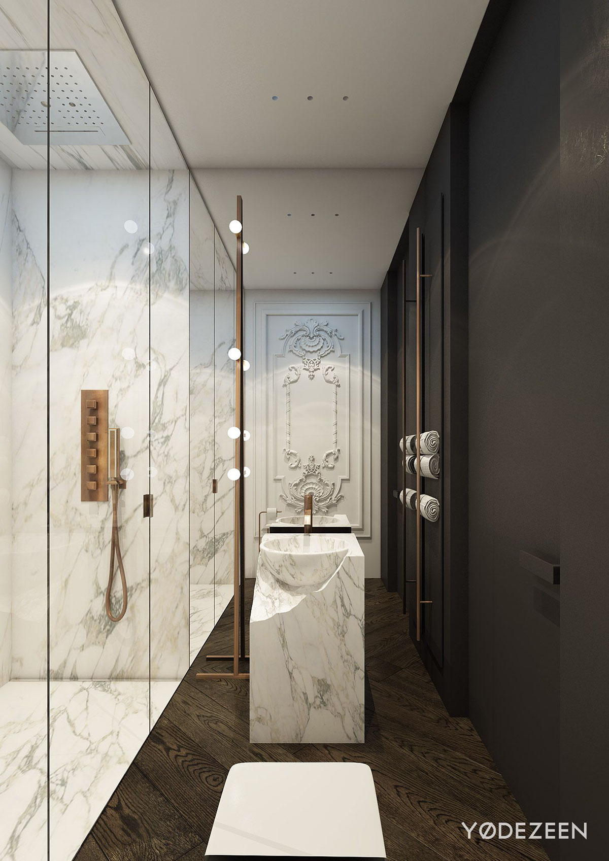 Beautiful Classic Marble Bathroom Design - A modern apartment with classical features