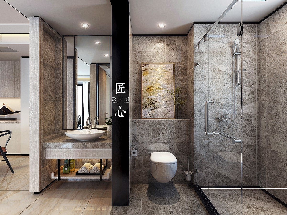 Two modern interiors inspired by traditional chinese decor for Home decor interiors bathroom