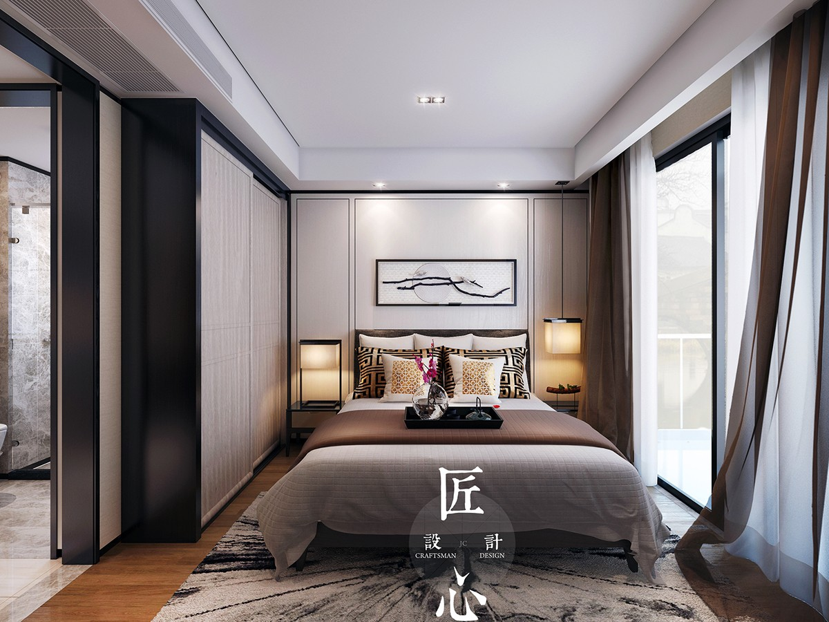 Two modern interiors inspired by traditional chinese decor for Modern day bedroom designs