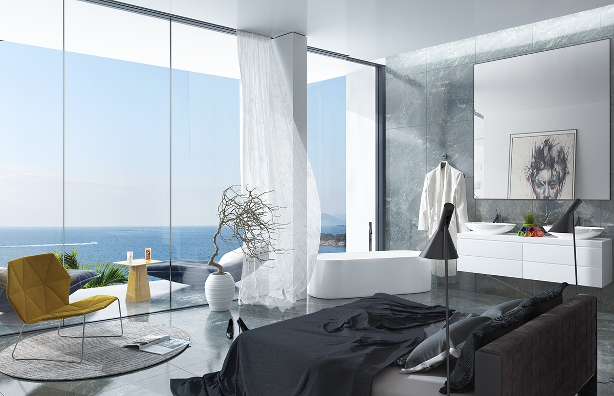 Bedroom With Open Freestanding Bathtub - Breathtaking luxury resort villas in bodrum turkey