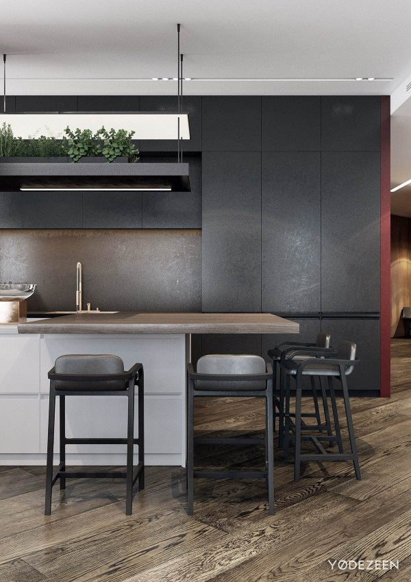 A modern apartment with classical features for Black and red dining room ideas