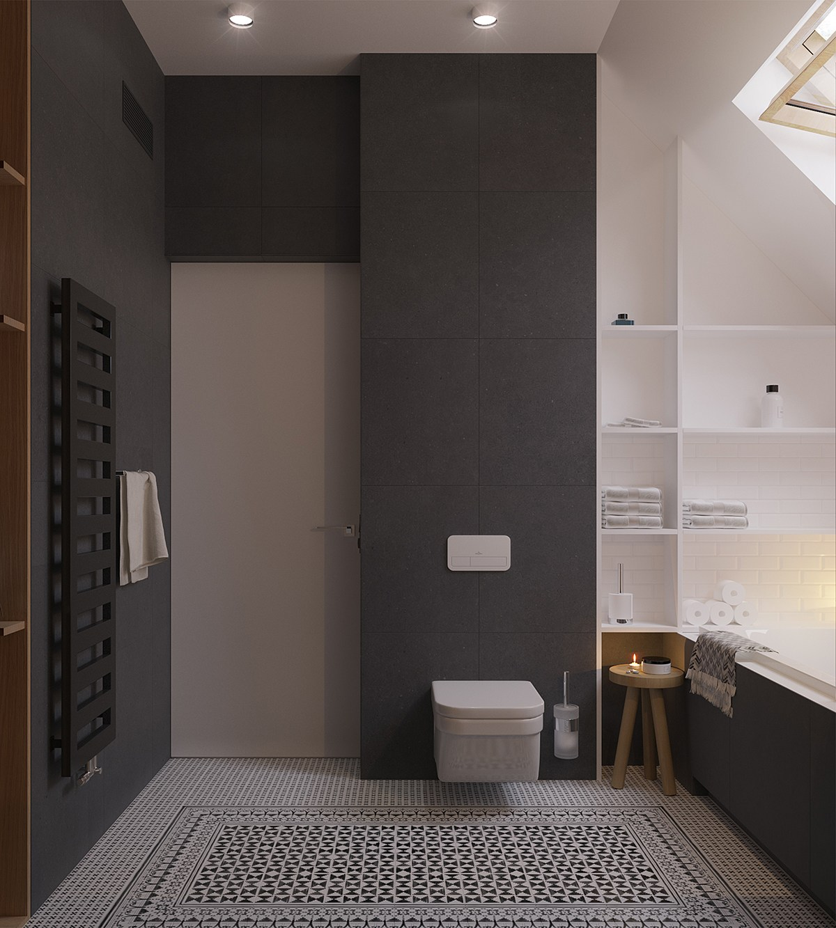 A sleek and surprising interior inspired by scandinavian - Bagno moderno piccolo ...
