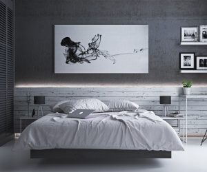 There's nothing quite like climbing into a big white bed that looks like a cloud. Best, yet - you might just feel like you're floating in the night sky against those charcoal black walls.