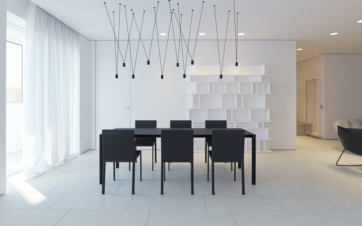 Black Dining Table With Chairs In White Room - 3 white themed homes with striking modern minimalist aesthetics