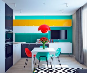 bright and colorful modern living room