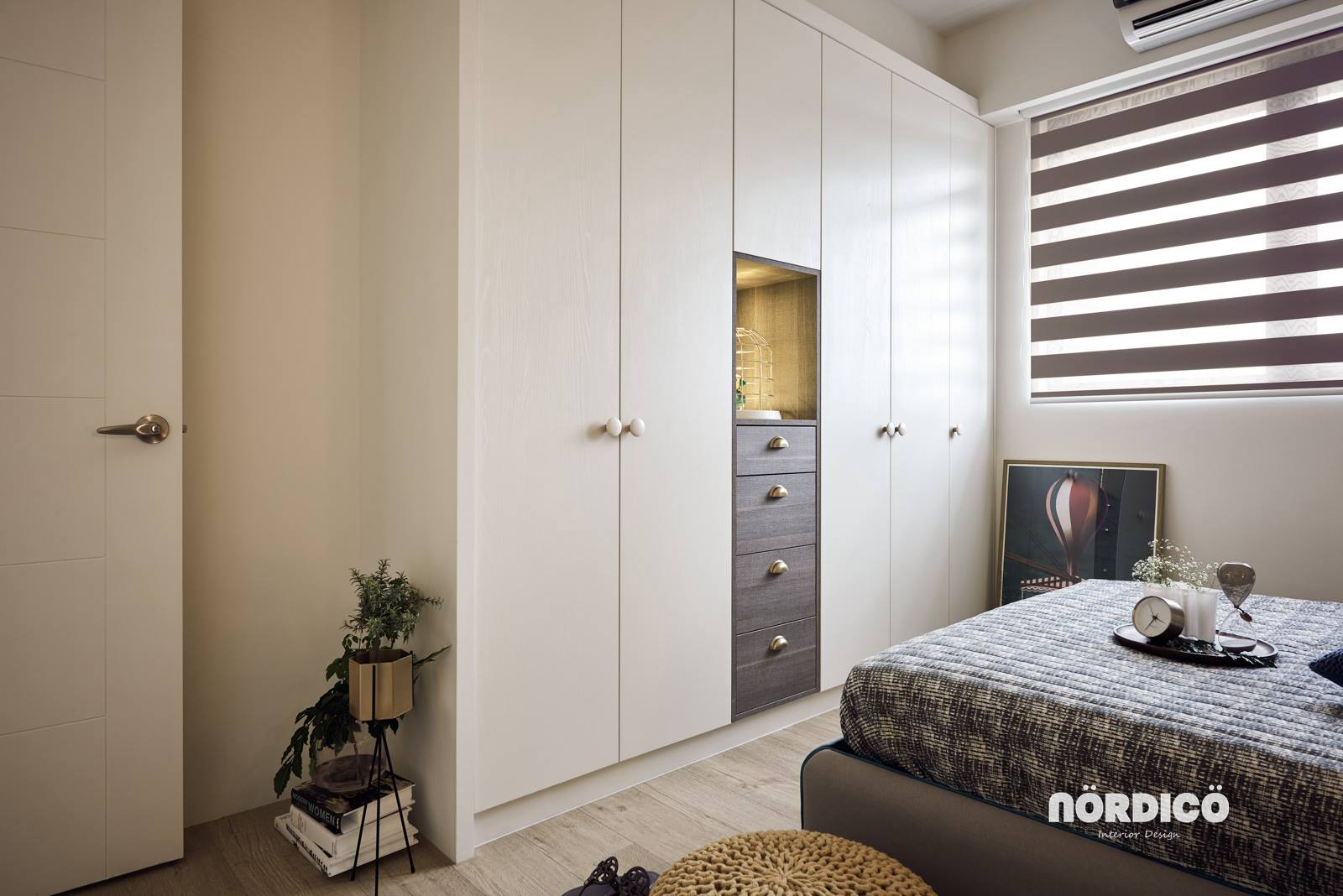 Built In Storage In Simple Bedroom - Nordic decor inspiration in two colorful homes