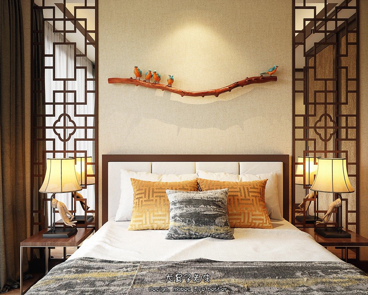 Two modern interiors inspired by traditional chinese decor for Home interior bedroom
