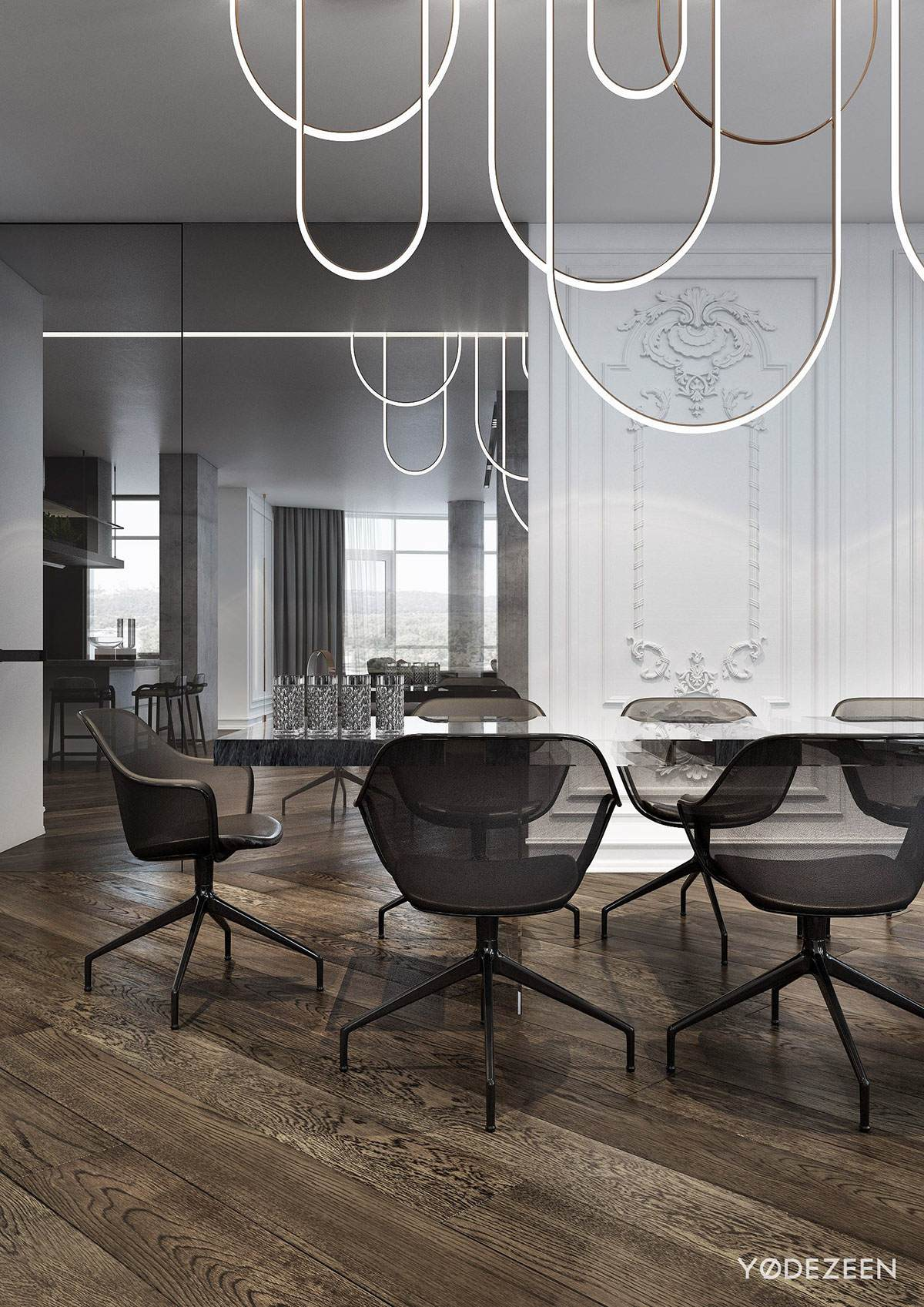 Classical Elements In Modern Dining Room Design - A modern apartment with classical features